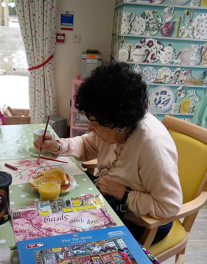 Resident painting, Blatchington Manor residential home, Seaford, East Sussex