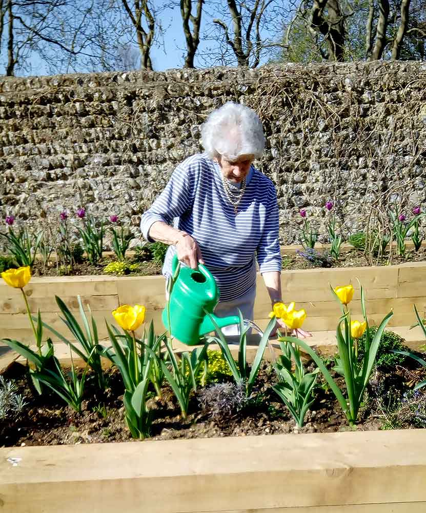 Resident gardening, Blatchington Manor residential home, Seaford, East Sussex