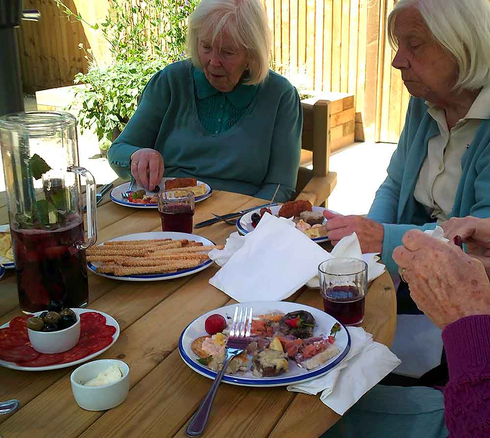 Residents enjoying lunch, Blatchington Manor residential home, Seaford, East Sussex