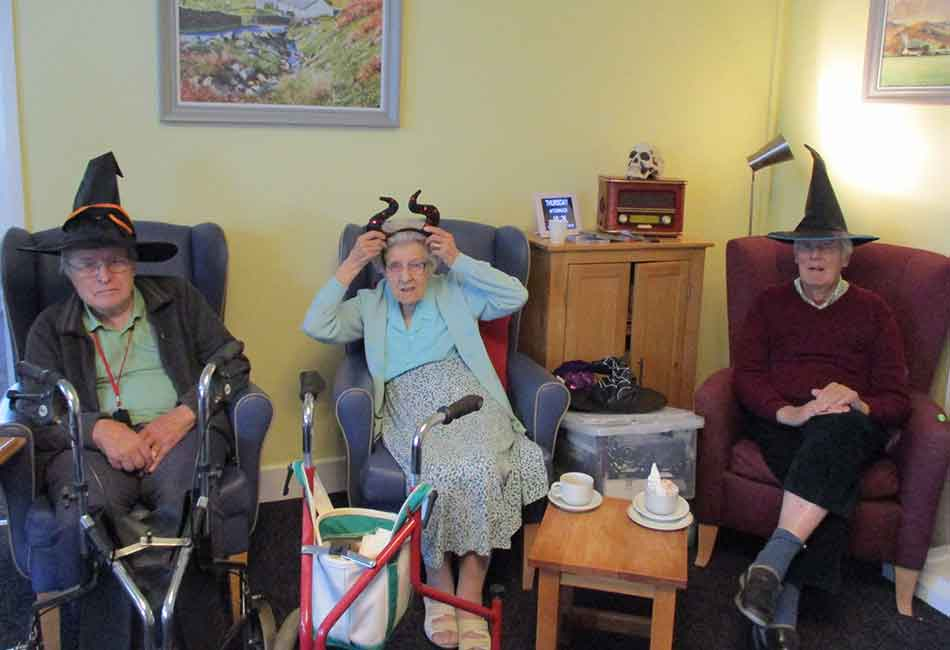 Resident enjoying activities at White Lodge residential home, West Sussex