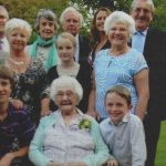 Resident and family gathering, Fernbank, Worthing, West Sussex